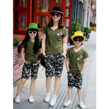 2016 Vestido Family Matching Outfits US Army Print T-shirt Cotton Short Sleeve For Men Women Kids Tee