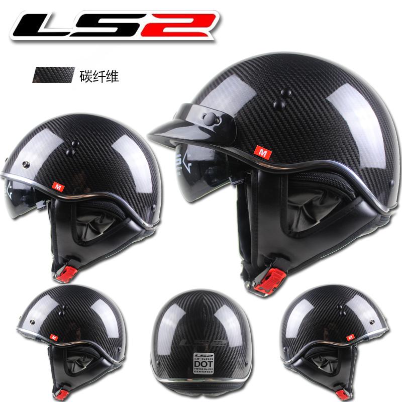 Carbon Fiber Motorcycle Helmet >> Aliexpress.com : Buy LS2 half helmet carbon fiber helmet cascos motorcycle helmet retro scooter ...