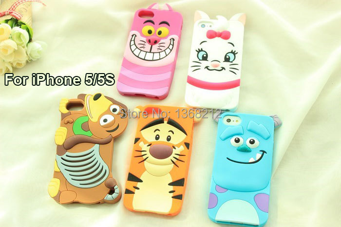 1PCS 3D Cute Cartoon Silicon Case Cover For iPhone SE 5 5G 5S Tigger Marie/Alice Cat Monsters Sulley Slinky Dog Cell Phone Cases(China (Mainland))