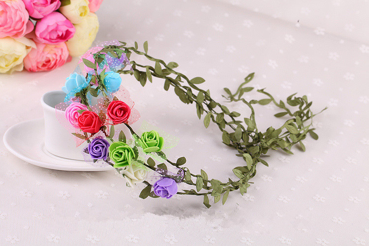 QKB037-5 Free Shipping Bohemian Style Wreath 8 rose Flower and leaves Crown Wedding Garland Forehead Hair Head Band Beach Wreath(China (Mainland))