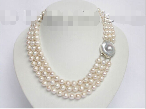 3row 10mm white freshwater pearls necklace blister clas ^^^@^Noble style Natural Fine jewe SHIPPING (C0309)<br><br>Aliexpress
