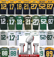 High quality Mens 12 Aaron Rodgers 17 Davante Adams 18 Randall Cobb 87 Jordy Nelson 52 Clay Matthews 88 Ty Montgomery(China (Mainland))