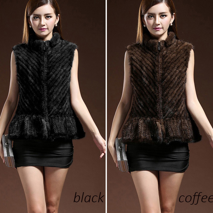 genuine lady knitted mink fur waistocat short styles vest women hair sleeveless outerwear natural gilet luxury outwear - Small Word store