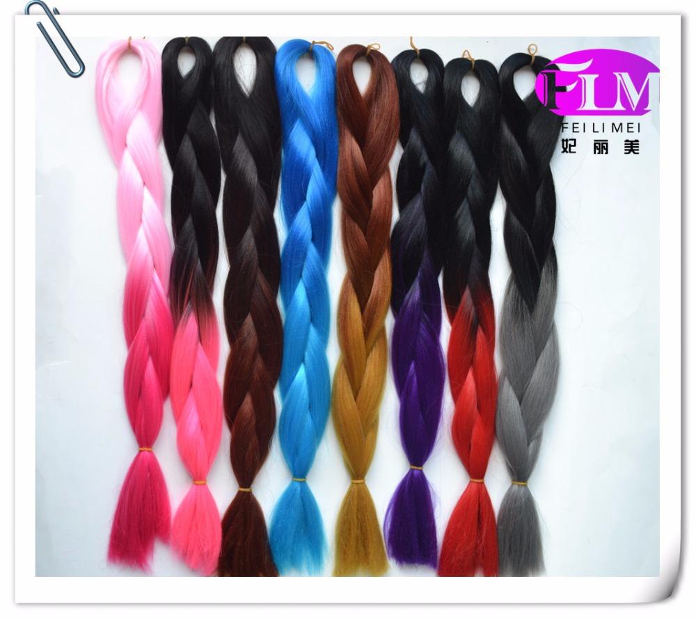 24 inch ombre Braiding Hair Kanekalon jumbo Braiding Hair 5pieces/lot Synthetic Braiding hair different Colors(China (Mainland))