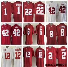 Alabama Crimson Tide 1 Nick Saban 8 Julio Jones 12 Joe Namath 42 Eddie Lacy White/Red College Football Jersey(China (Mainland))