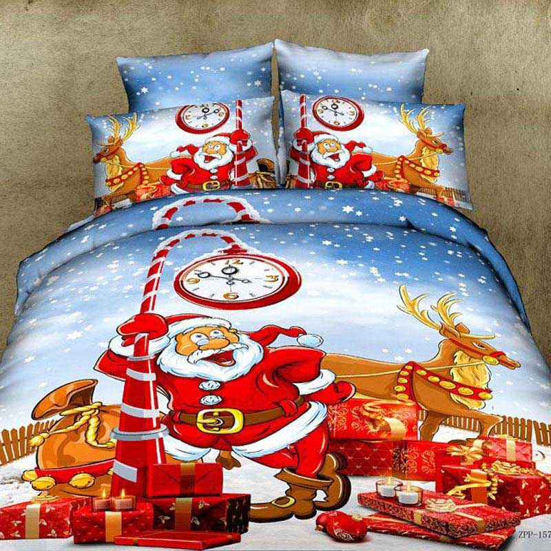 red christmas bedding sets 4pcs for queen king size 100%cotton duvet quilt bed covers kids cartoon bedclothes comforters bed set(China (Mainland))