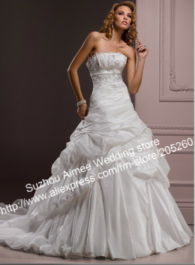 New Arriva Formal Ruched Off The Shoulder Pleat Satin White Ivory Beaded Strapless Wedding Dresses