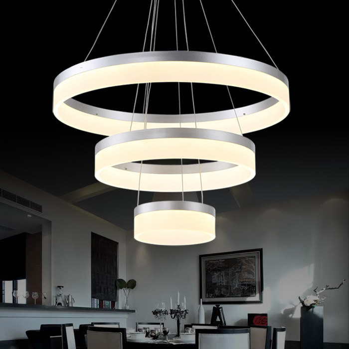 Hot sale LED Pendant Lamp Ring Light Modern LED Pendant Lights Hanging Lamp Lustre Light Ready Stock 90W black color(China (Mainland))
