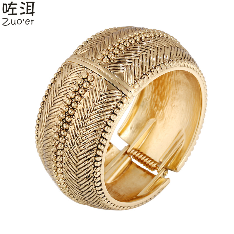 2016 New Women's Brand Top Quality Wide Gold Cuff Bangles,Vintage Indian Big Bracelet Paladium Arm Cuff Jewellery bijoux indiens(China (Mainland))