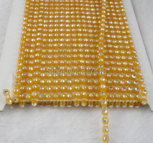 SS12 A grade white AB crystal glass 3mm Rhinestones banding Trim orange yellow Setting applique 10 Yards(China (Mainland))