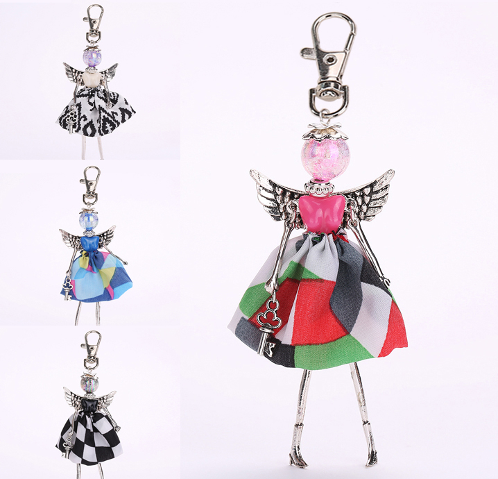 2016 New Arrivals Clothing angel wings Keychain female doll dress pretty cute doll key chain fashion jewelry free shipping(China (Mainland))