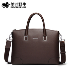 BISON DENIM Branded 14 Inch Laptop Leather Bags For Unisex Genuine Leather Business Bag(China (Mainland))