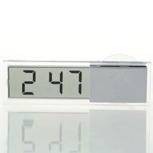 1pcs Mini Durable Transparent Car Electronic Clock LCD Display Digital with Sucker Free Shipping hot(China (Mainland))