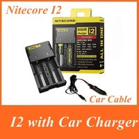 2015 Free Shipping 1PC Nitecore I2 charger Battery Charger + car charger cable  for 16340 10440 AA AAA 14500 18650 26650