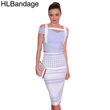 HLBandage Blue And White Jacquard 2 Piece Set Knee Length 2015 New Fashion Bodycon HL Bandage Dress(China (Mainland))