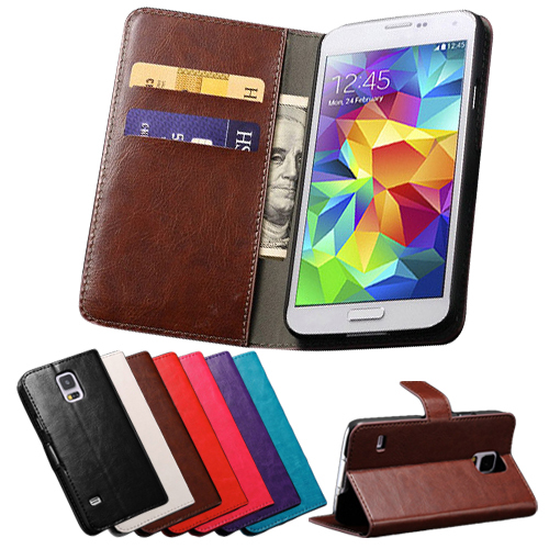 Vintage Wallet PU Leather Case for Samsung Galaxy S5 I9600 with Stand and Card Holder Phone Bag Luxury Flip Cover Brown White(China (Mainland))