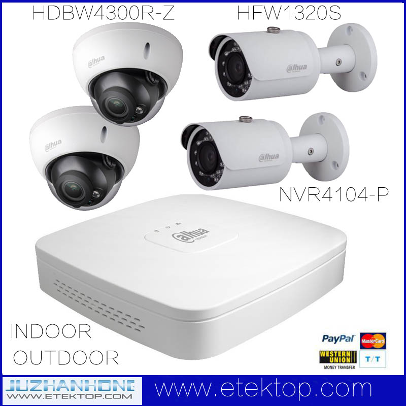 Dahua 4Channel Outdoor Indoor IP Camera System With 3MP IP Bullet Dome Camera POE 4CH NVR,HFW4300R-Z HFW1320S,2.8-12mm 3.6mm(China (Mainland))