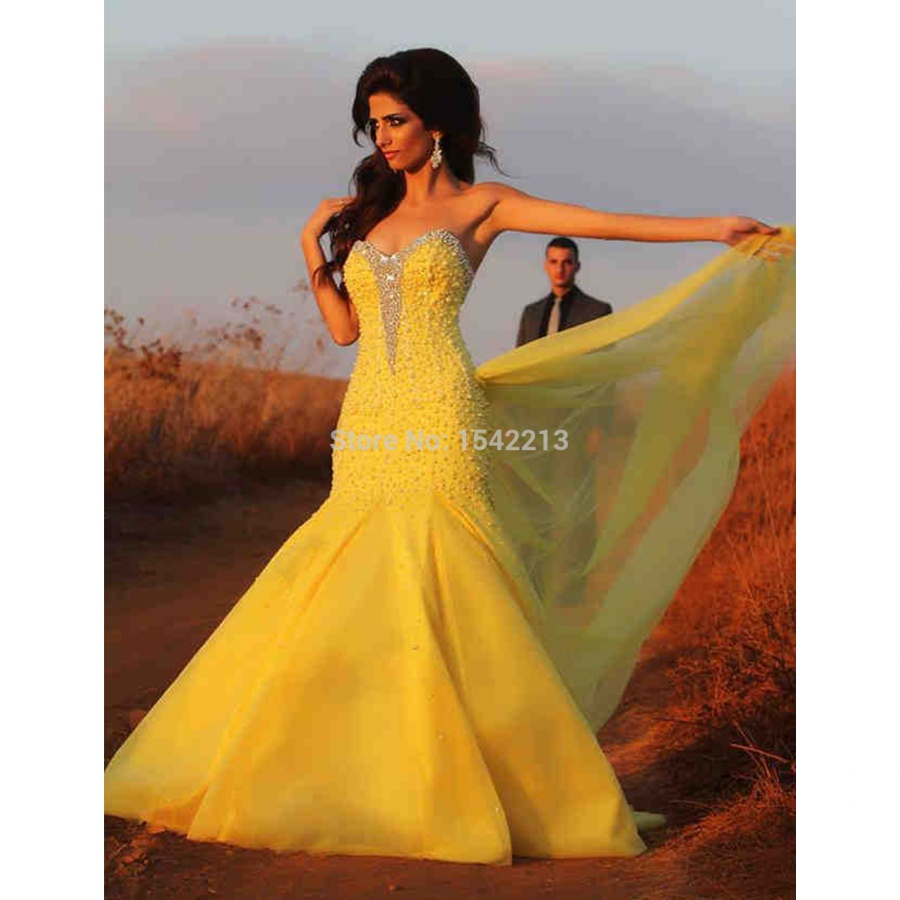 Fashionable beaded and pearls yellow mermaid wedding dress for Vintage mermaid style wedding dresses