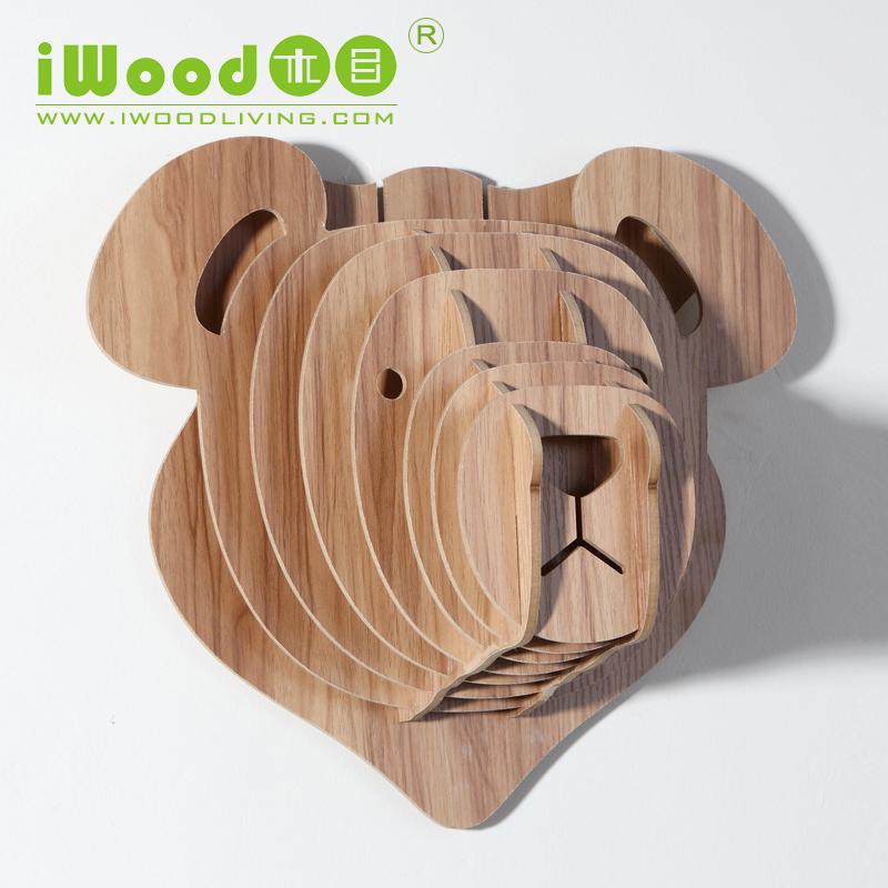 1 peçaúnica de madeira de pelúcia urso de madeira decoraç u00e3o artesanato casa decoraç u00e3o em