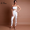2017 summer new Fashion Hollow Out Metal Embellished Two Pieces Set Women Party Celebrity bodycon bandage