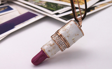 Fashion Ladies Lipstick Pendant Necklace For Sale With Rhinestone, Sweater Long Necklace(China (Mainland))