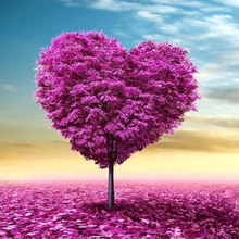 Heart Tree Diy 5D round Drill Diamond Painting Cross Stitch Pasted Painting Purple,Diamond Embroidery