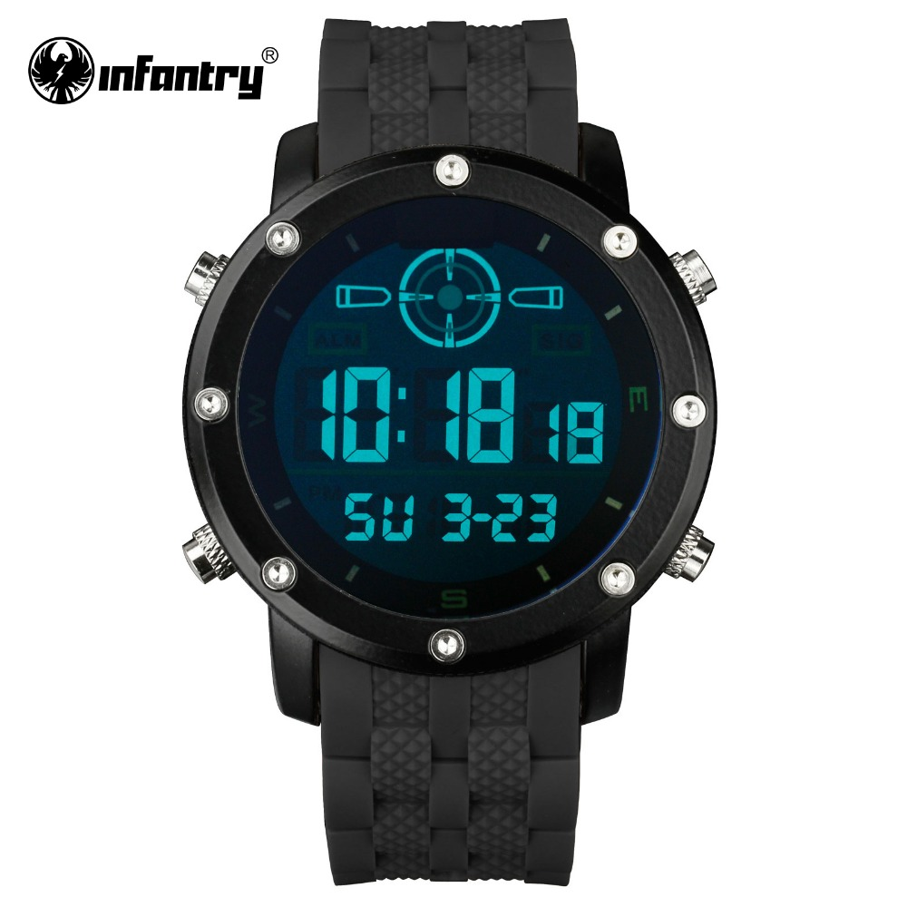 INFANTRY Men LED Digital Wristwatches Outdoor Military Watches Luxury Brand Male Clock Sport Rubber Black Relogio Masculino 2016(Hong Kong)