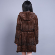 100%Real Genuine Knitted Mink Fur Coat Outwear Jacket Hoody Vintage Classic Warm(China (Mainland))