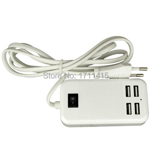 15W 4 USB Ports Desktop Wall Charger 5V/3A 1.5m Cable Desktop EU Plug Charger for MP3 Smart Phones for iPhone Tablet(China (Mainland))