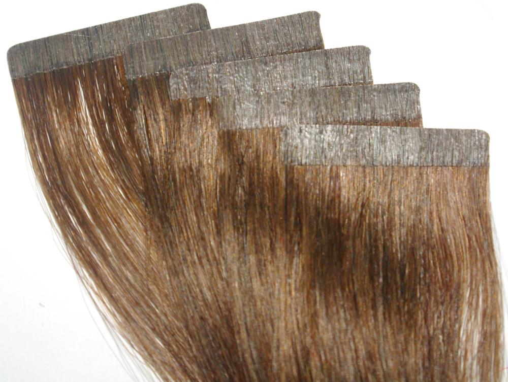 Virgin Chinese Hair Straight Tape Hair Extension 50g 4# dark brown Pu skin weft Pomotion Free Shipping(China (Mainland))