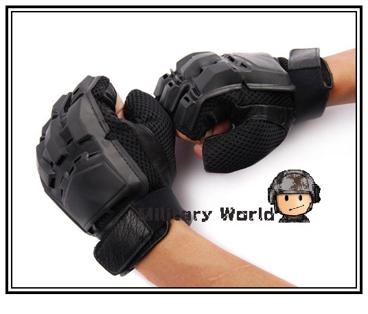 Military Airsoft Tactical PVC Half-finger Assault Glove Outdoor Sports Army Motorcycle Cycling Half Finger Gloves For Mens-Black<br><br>Aliexpress
