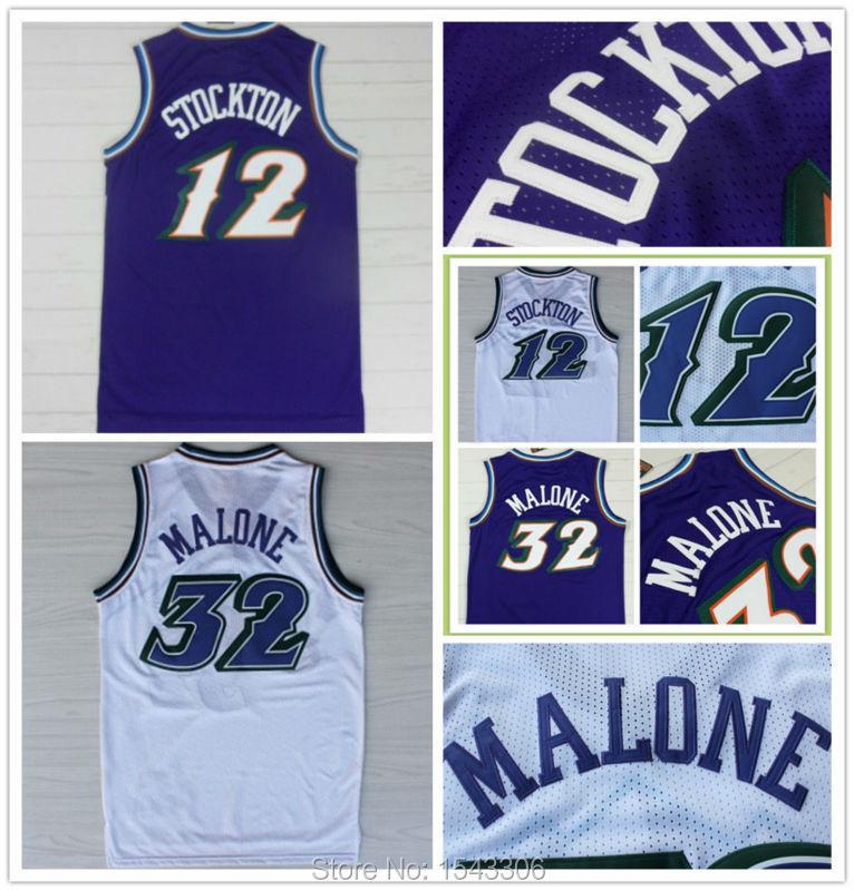 Free shipping! Utah Double #12 John Stockton Jersey #32 Karl Malone Jersey Cheap Authentic Snow Mountains Basketball Jersey(China (Mainland))