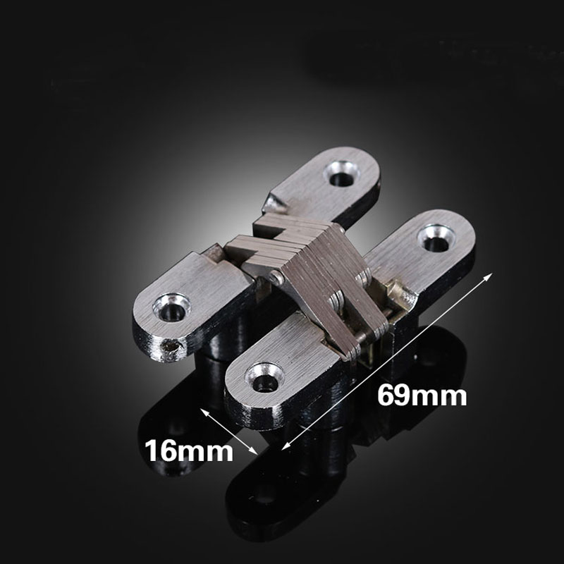 Stainless Steel Hidden Hinges 69X16MM three dimensional Adjustable Invisible Concealed Door Hinges for Folding Door 2pcs(China (Mainland))