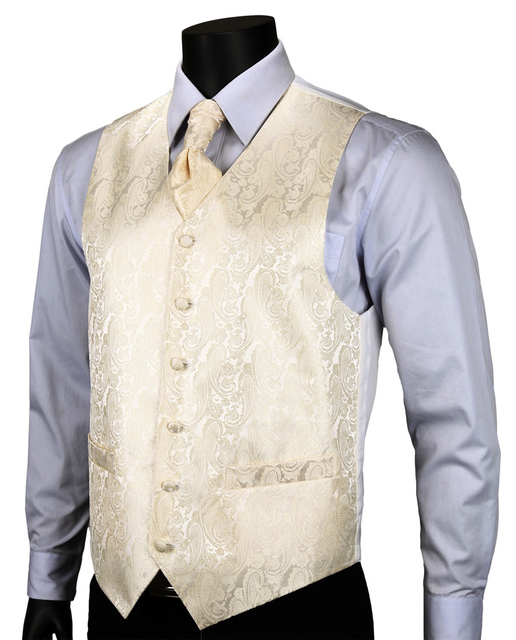 Ve06 бежево-желтый пейсли лучших свадебные мужчины 100% шелк жилет жилет карманные ...