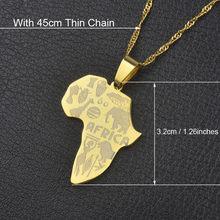 Anniyo Châu Phi Bản Đồ Mặt Dây Chuyền Vòng Cổ dành cho Nữ Màu Bạc/Vàng Màu Ethiopia Trang Sức Bán Buôn Châu Phi Bản Đồ Hiphop Mục số 132106(China)