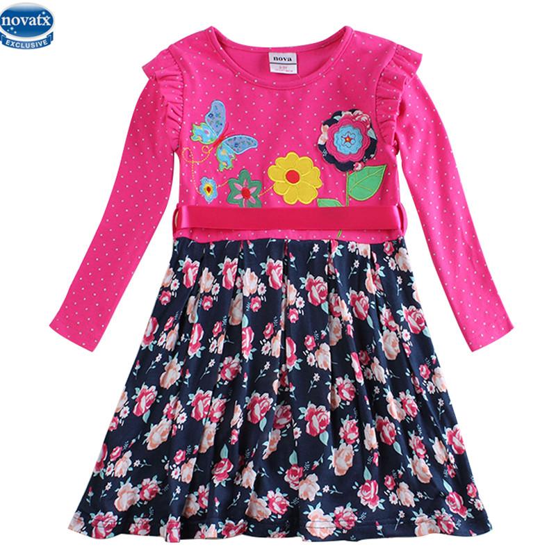 novatx H 6241 girl baby clothes kids long sleeve embroidery frock flower dress new children cllothes  -  NOVA & NOVATX Factory Store store