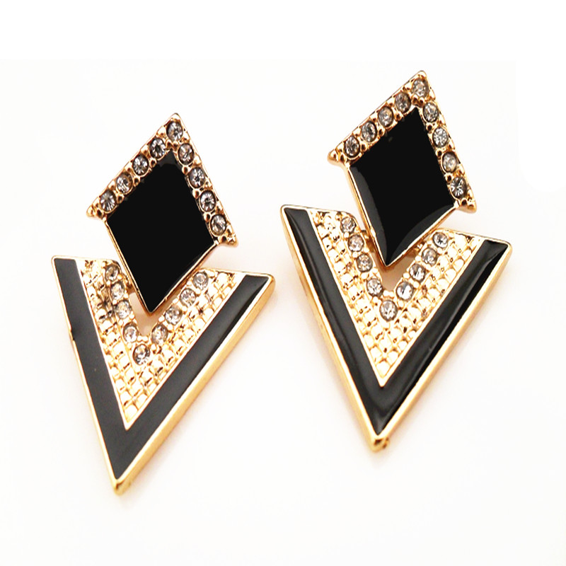 Fashion Accessories Jewelry Vintage Brand Crystal Stud Earrings For Women E057