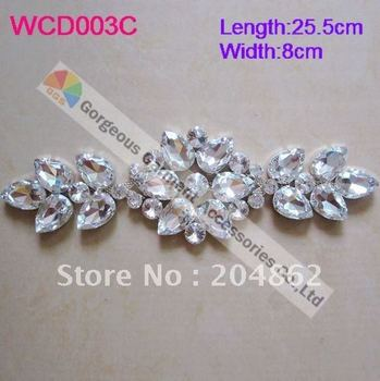 Free Express shipping(12pcs/lot) 25.5x8cm wedding/evening dress clear glass crystal rhinestone jewelries in Sliver Setting