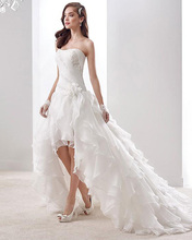 2016 New Design Summer Autumn Man Hade Flower Tiered High Low Wedding Dresses Plus Size Bridal Gown Alibaba China Vestido Branco(China (Mainland))