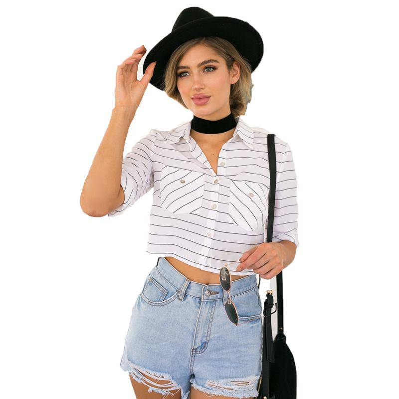 Popular linen boyfriend shirt buy cheap linen boyfriend for Cropped white collared shirt