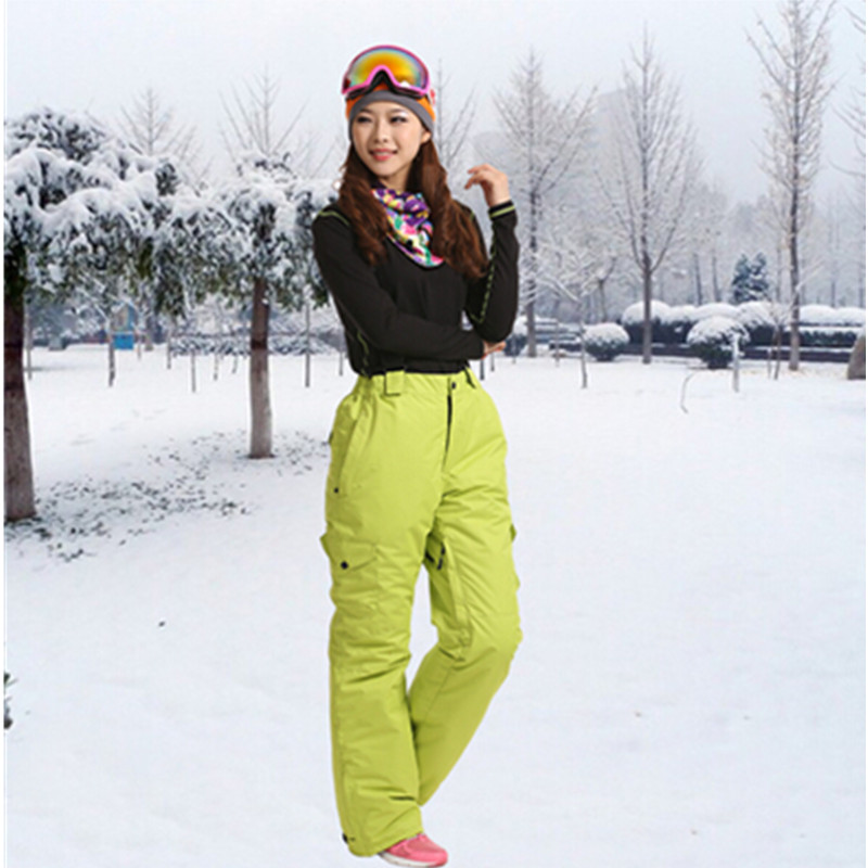 Marsnow Brand Windproof Waterproof Breathable Double Layer Winter Women Ski Snow Lady Trousers Thicken Ski Snowboarding Pants(China (Mainland))