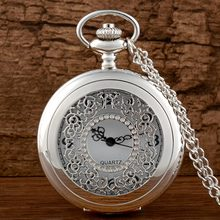 Antique Silver Quartz Pocket Watch Mens Women Fob Watches Vintage Hollow Skeleton Necklace Pendant Retro Clock With Chain Gifts(China (Mainland))