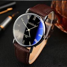 2015 luxury fashion blu ray vetro numero romano quarzo analogico mens watch, fascia di cuoio relojes uomini di sport orologio da polso in pelle(China (Mainland))