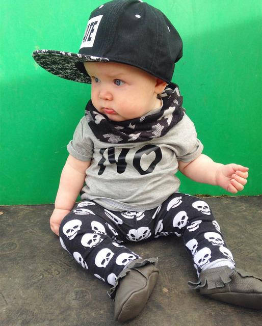 2016 летняя мода baby boy девушка одежда unisex хлопок письма НЕТ Футболка + брюки ...