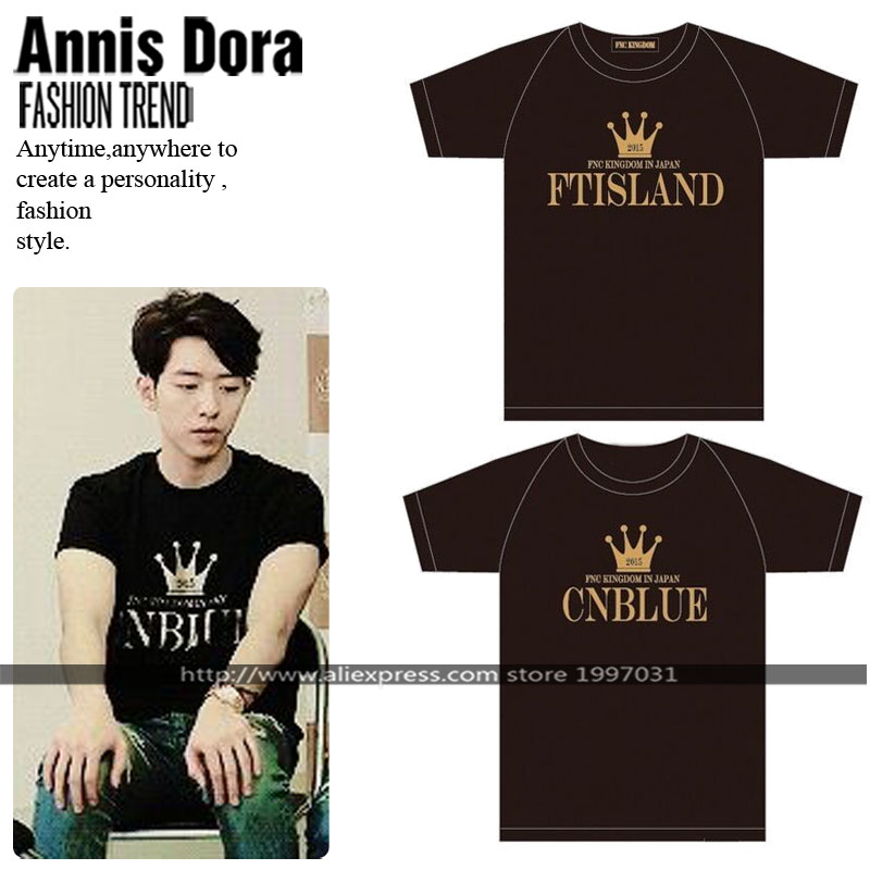 KPOP FNC 2015 KINGDOM Concert CNBLUE AOA FTISLAND N.FLYING same style short sleeved T-shirt(China (Mainland))