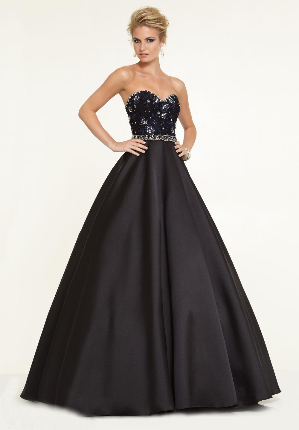 2015 strapless beaded top satin black evening dress