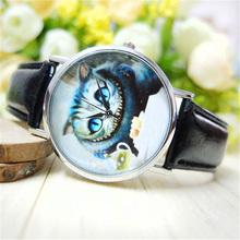 Nuevos 2015 relojes de pulsera hombres de la llegada de mujeres de moda modelo lindo gato imitación de cuero de cuarzo vestido reloj de pulsera