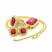 Lo nuevo hiphop bling del collar de los hombres conjunto hacia fuera helado 18 de oro color rojo rubí collar sistema de la joyería hippie roca cantante masculino joya(China (Mainland))