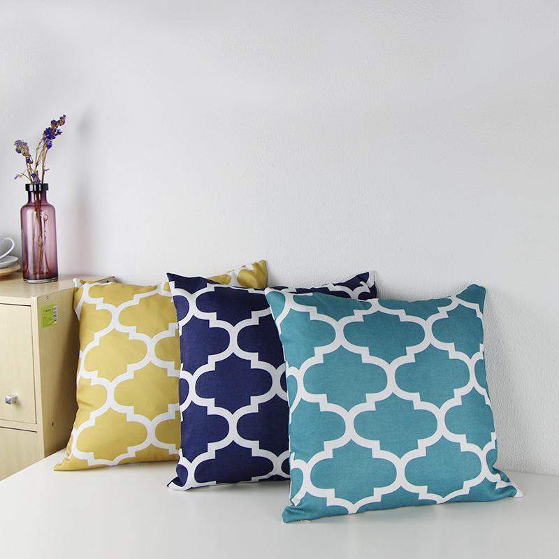 """Canvas Decorative Cushion Covers Sofa Chair Seat Throw Pillow Cases Quatrefoil Print Square 18X18"""" almofadas Cushion cojines(China (Mainland))"""