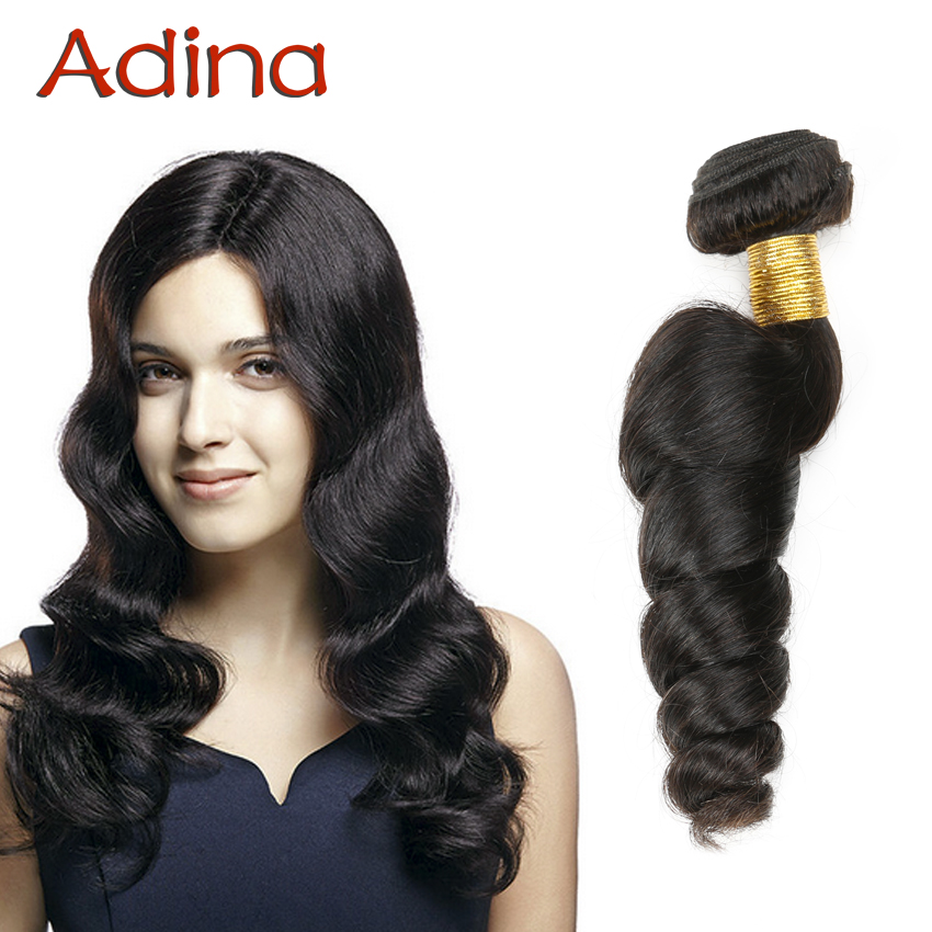 Adina Natural Wave 6A Indian Virgin Hair Loose Wave Bundles 3pcs Real Virgin Indian Hair 100% Human Hair Weaving More Wavy<br><br>Aliexpress